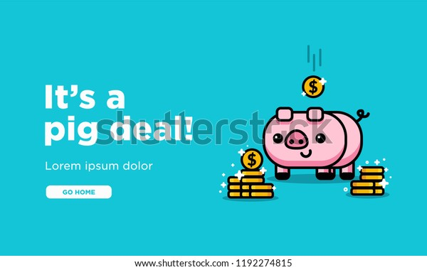 Design Bank Sale.Pig Deal Sale Page Design Cute Stock Vector Royalty Free 1192274815