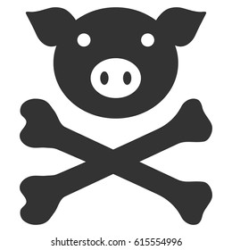 Pig Death vector icon. Flat gray symbol. Pictogram is isolated on a white background. Designed for web and software interfaces.