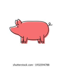 Pig doodle logo design. Pig vector. Pig symbol.
