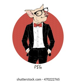 pig dressed up in tuxedo, Chinese horoscope, anthropomorphic illustration
