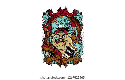 Pig Eating Junkfood T-shirt Design Illustration
