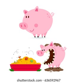 Pig Eating From Trough