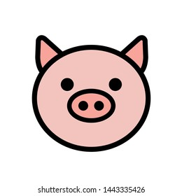 pig face icon color illustration vector