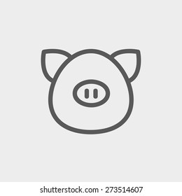 Pig face icon thin line for web and mobile, modern minimalistic flat design. Vector dark grey icon on light grey background.