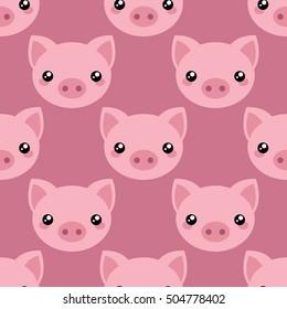 Pig face. Vector pattern