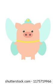 Pig fairy, costume festival. A pig in a fairy costume. Cartoon, vector