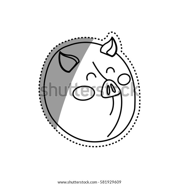 Pig farm animal icon vector illustration graphic design