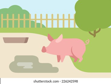 Pig farm courtyard puddle of mud flat design cartoon vector animals. Flat zoo nature children collection.