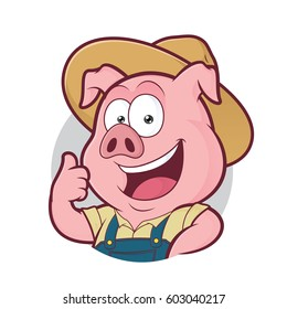 Pig farmer giving thumbs up in round frame
