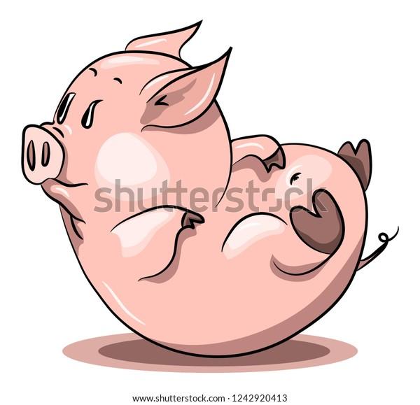 Pig Fell Top Feet Cute Animal Stock Vector Royalty Free 1242920413