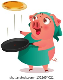 Pig female in apron cooks pancakes in pan. Isolated on white vector cartoon illustration