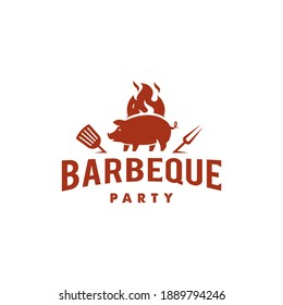 pig and fire logo, Grill Barbeque invitation party barbecue bbq Logo design vintage hipster style