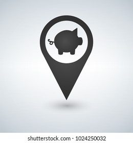 Pig flat pin map icon. Map pointer. Map markers. Farm. Animal. Vector illustration.