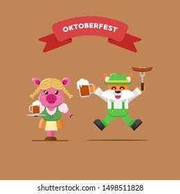 PIG AND FOX OKTOBERFEST PARTY COSTUME BRINGING BEER AND SAUSAGE FLAT ILLUSTRATION