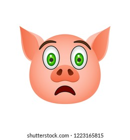 Pig in frightened emoji icon. Element of new year symbol icon for mobile concept and web apps. Detailed Pig in frightened emoji icon can be used for web and mobile