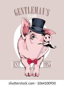 Pig in a gentleman Top hat, in a red bow tie and with a mustache Photo Booth. Vector illustration.