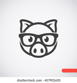pig with glasses icon.