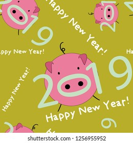 Pig. Happy new year 2019 Year of the pig. Seamless pattern. Vector illustration on yellow background