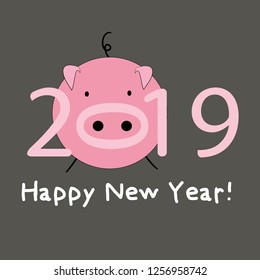 Pig. Happy new year 2019 Year of the pig.  Vector illustration on dark grey background