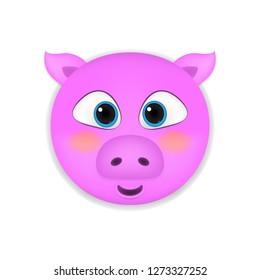 Pig head cartoon vector