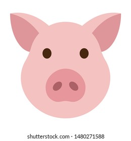 Pig head / face or pork bacon flat vector color icon for animal apps and websites