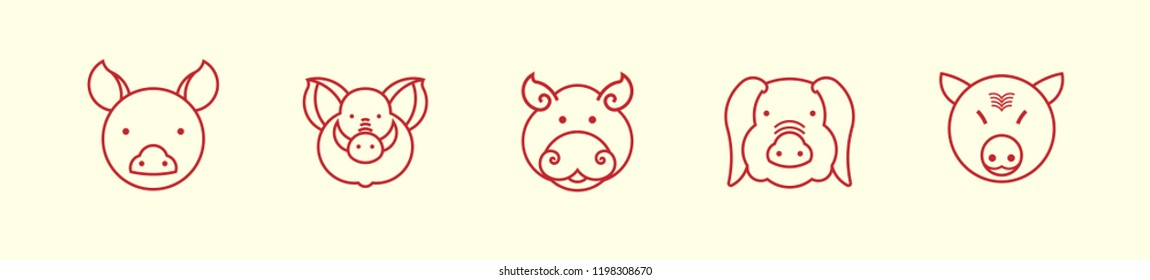 Pig head icon vector