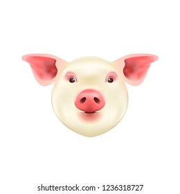 Pig Head Isolated on White Background. Symbol of 2019 Chinese Year of the Pig. Vector Icon.