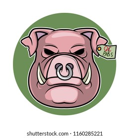 Pig head logo illustration