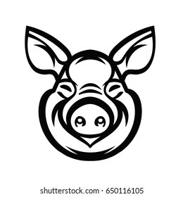 Pig Head Logo Mascot Emblem - vector image of swine head