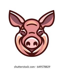 Pig head mascot emblem - vector image of swine head