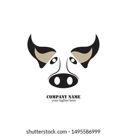 Pig head silhouette vector illustration. Farm animal or butcher shop graphics isolated on white background