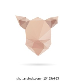 Pig head triangle abstract isolated on a white backgrounds, vector illustration
