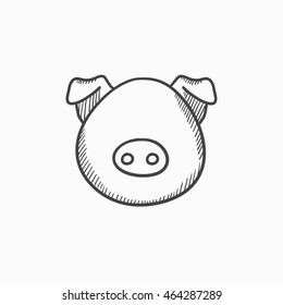Pig head vector sketch icon isolated on background. Hand drawn Pig head icon. Pig head sketch icon for infographic, website or app.