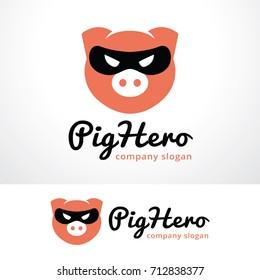 Pig Hero Logo Template Design Vector, Emblem, Design Concept, Creative Symbol, Icon