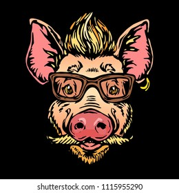 Pig hipster with hairs, glasses, moustaches and beard portrait concept illustration on black background design for print, poster and shirt