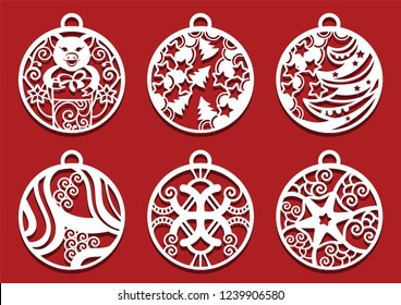 Pig holding gift inside Christmas ball. Symbol of 2019 for laser cutting.. Set of New Year decorations