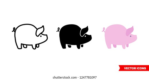 Pig icon of 3 types: color, black and white, outline. Isolated vector sign symbol.
