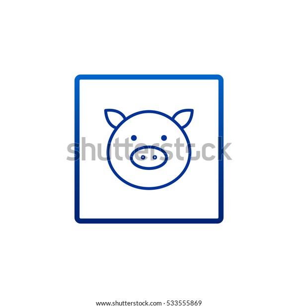Pig icon Flat.