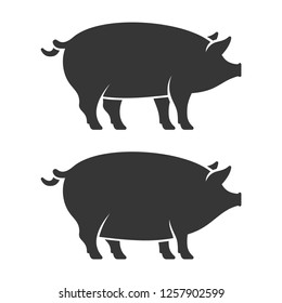 Black And White Pig SVG Vector, Black And White Pig Clip art - SVG Clipart