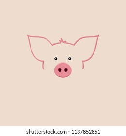 Pig icon. Pig is a symbol of the 2019 Chinese New Year.