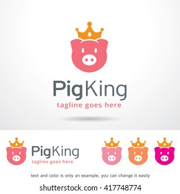 Pig King Logo Template Design Vector