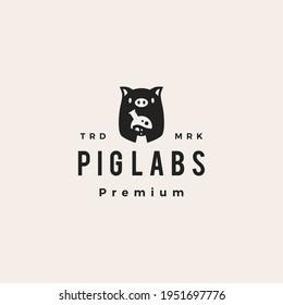 pig laboratory lab hipster vintage logo vector icon illustration