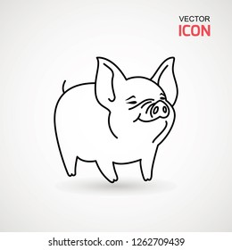 Pig line icon. logo Piglet with smile in outline style. Icon of Cartoon pig with smile. Chinese New Year 2019. Zodiac. Chinese traditional Design, decoration Vector illustration