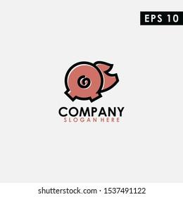 Pig With Line Logo Design. Pig Logo With Line Template. Modern Design. Flat Logo. Vector Illustration