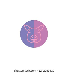 Pig linear icon in purple circle