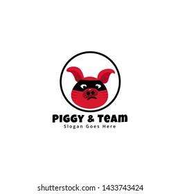 Pig logo design vector template for kids and team. Pig logo using sunglasses like  a ninja