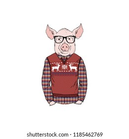 pig man dressed up in jacquard pullover with deers, anthropomorphic animal illustration
