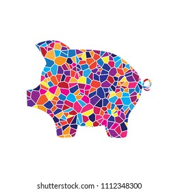 Pig money bank sign. Vector. Stained glass icon on white background. Colorful polygons. Isolated.