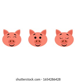 Pig muzzle with open and closed eyes isolated on white background. Stock vector illustration for decoration and design, postcards, fabrics, packaging, baby textiles, poster, banner, books, coloring