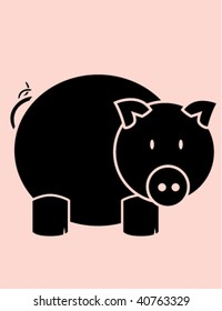 Pig on pink background - vector version